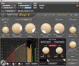 Used in M/S mode as a  parallel compressor across the mix bus, FabFilter's Pro-C helped to add some bite to the proceedings and stabilise the balance.