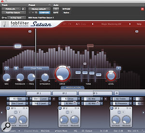 Some of the mix elements benefited more than others from additional saturation, so rather than apply this as a  master bus insert, a  separate Aux channel was created for FabFilter's Saturn.
