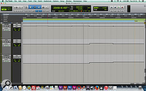 If you want to reinforce the impact of a  new song section, why not just turn the entire mix up? The relevant automation moves are visible on the 'SUBMAST' track; as you can see, the guitar bus also gets a  kick up at the problematic two-minute point, while the drums are trimmed down a  touch.