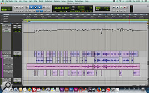 The 'Vocal Comp' playlist here is not a  comp from multiple takes, but from the raw track (centre) and two different Melodyne'd versions of it (top and bottom). Note, as ever, the extensive level automation on the vocal (top).