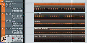 The comp after applying 'Bounce Selection'. Each track now contains asingle audio event, which can be used to generate hitpoints.