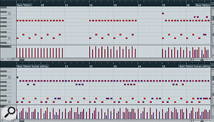 Even the simplest of drum patterns, such as ametronomic eighth-note hi-hat with akick and snare on alternate beats (top left), can easily be transformed into something less robotic with the tiniest bit of editing, as shown in the other two-bar loops and the final eight-bar version (bottom).