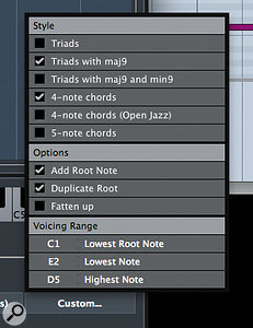 The Customise option allows you to control how simple or how complex you want your chords and their voicings to be.