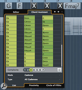 If you are struggling to link two song sections together via the Chord Track, the Chord Assistant can suggest some possible chord sequences.