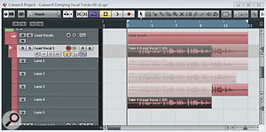 In this example, four vocal takes have been recorded, each displayed in its own lane under the master audio track.
