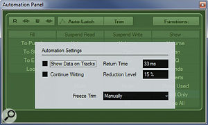 The Settings dialogue of the Automation Panel allows the Reduction Level to be adjusted.