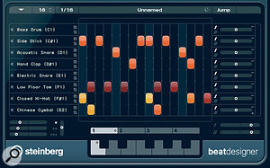 Beat Designer is a new MIDI plug‑in step sequencer that makes it easy to create drum patterns.