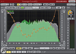 The main spectrum display of CurveEQ. As described in the main text, frequency spectrums for two different audio examples are shown here, as well as the EQ curve that the plug-in has generated to make the 'My Rock Mix' frequency response sound closer to that of 'Punk Pop Mix' (in this case, Green Day's 'American Idiot').