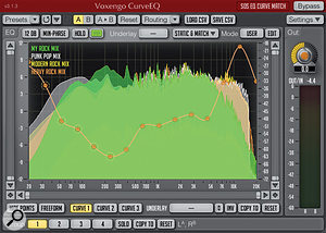Here is the result of applying (a) multiple 'reference' tracks (three different commercial rock mixes) and (b) limiting the curve to 15 control points to generate asmoother EQ matching curve for my own rock track.
