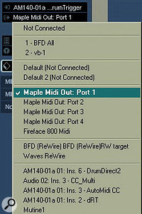 A virtual MIDI cable — in this case Marblesounds' Maple — can be useful to route the MIDI data from multiple drum triggers to multiple drum modules.
