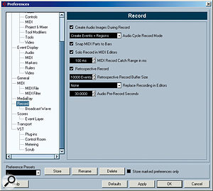 The Record options in the Preferences dialogue. Note the Audio Cycle Record Mode and the Audio Pre-Record Seconds settings.