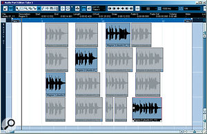 The Audio Part Editor. In this example, the four takes have already been split and the best bits for each phrase selected.