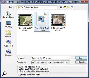 The Import Video dialogue box provides information on the format of the video file selected and a self‑explanatory option to 'Extract Audio From Video'.