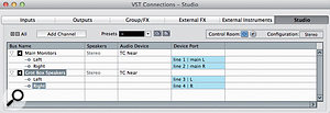 Configuring two sets of stereo monitors in the VST Connections dialogue.