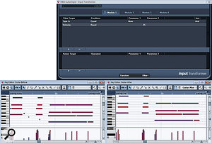 The low-velocity MIDI notes generated in thisMIDI guitar performance (top) were removed using the Input Transformer. In the 'after' example (above), these changes have been made permanent simply to illustrate which notes the Input Transformer has filtered out.