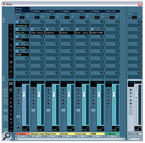One of the secrets behind the vocal sounds of world‑famous mix engineer Michael Brauer is his unusual parallel compression technique. Here you can see a configuration in Cubase that simulates his setup. Five Group channels are fed via post‑fade sends from the 'LV Source' audio track containing the original vocal recording, and each of the Group channels contains a compressor with its own unique sound. The outputs of all these compressors are then mixed to the LV Master Group channel for any further communal insert processing or send effects.