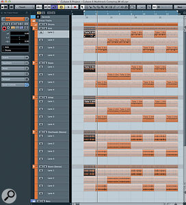 In this example, three drum takes were recorded and split into bar-length sections using the Object Selection tool. Clicking on any bar in atake automatically gives playback priority to that selection for the same take on every track. Here, this has been done for bar one, take one.