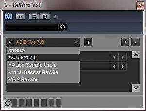 Rewire VST: a neat way to provide Rewire functionality in the 64‑bit version of Cubase.