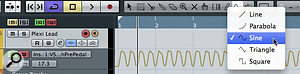 The sine waveform line tool is great for creating automation data for the wah pedal.