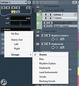 Make sure the main output (or outputs) from any included VST instrument are routed to the appropriate Group Channel.