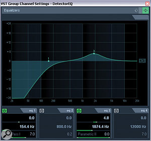 Here are some suggested EQ settings for the lead‑vocal Expander's side‑chain signal. The processing needs to be applied to the DetectorEQ group channel in this month's setup.