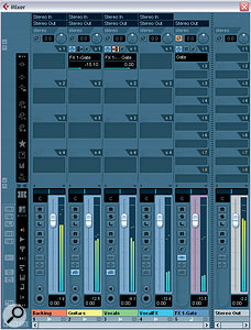 In these screens, you can see a more flexible and powerful way of implementing side‑chained ducking within Cubase, by setting up a Gate plug‑in in an FX Channel, to operate as a send effect.