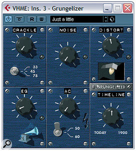 Any of the processors in the plug‑in menu's Distortion submenu can be used in place of a compressor in this article's parallel vocal processing setup, but in addition to those you can also get some useful tonal colours out of the Grungelizer plug‑in if you turn the Crackle, Noise and AC controls down to get rid of the background noise.
