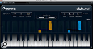 The Pitch Correct plug-in can provide real-time pitch-shifting. Here, the original input pitch is shown in orange, while the output pitch (transposed by 12 semitones) is shown in blue.