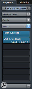 With the Pitch Correct plug-in inserted before the VST Amp Rack, the virtual guitar rig gets an octave-shifted version of the original bass part.