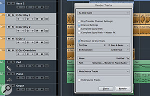 Render In Place's Mix Down To One Track option is a  useful way to create stems, as shown here for a  set of guitar tracks.