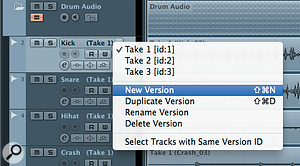 New Track Versions can be created directly from the Track List.