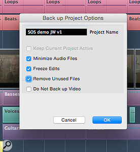 The Back up Project dialogue can both create a  backup and tidy up some media-file clutter.