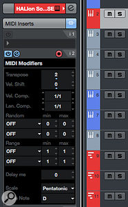 The MIDI Key Editor offers lots of useful options for creating chord sequences.