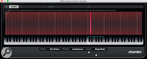 Once chords are entered, the Key Editor lets you explore different chord voicings, using the Inversions and Drop Notes buttons.
