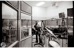 Dave Gilmour recording a  guitar part in Studio 3.