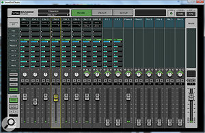 The eMotion ST window has two layers. In the main Mixer layer, shown here, you can use the Sends page to create up to eight separate cue mixes, as shown; alternatively, the Preamp, Rack and Route buttons select other views.
