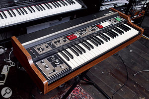 David Kosten makes much use of vintage analogue keyboards, among them (left to right) the Roland RS505, Korg MS20, Sequential Pro One, Roland VP330 Vocoder Plus and Logan String Melody II.