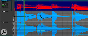 Some big stuff has happened in DP9's Sequence Editor. Here a  guitar audio track is shown in the new Spectrogram view mode. Underneath are folded out two new automation lanes, for track volume and pitch data.