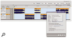 Bouncing a 'CD assembly' sequence into one long 16-bit soundbite. The screenshot shows the correct settings to make in the Bounce To Disk window.