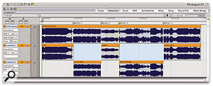 Splitting the long soundbite into track-length sections, using Markers and the Apple+Y (Split) edit command.