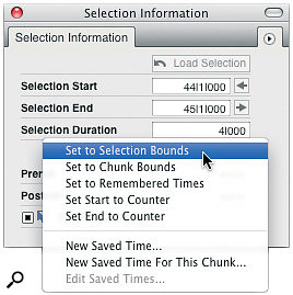 DP6's Selection Information window lets you make precise selections numerically, or, as here, convert data selections to time‑range selections.