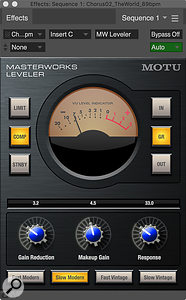 The MW Leveler offers a  close sonic emulation of the LA‑2A, and its expanded control set helps you dial in various vintage characteristics.