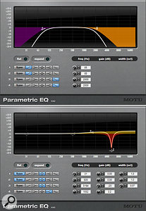 Equalisation can be useful both to control unruly high and low frequencies (top) and notch out unpleasant resonances (lower).
