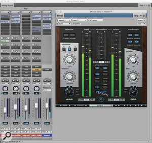 A typical master fader configuration in DP, from a  small–scale classical recording job I  did recently. The master fader channel on the right gathers the output from all the other audio tracks, and hosts a  mastering–style reverb, a  stereo processor and, finally, a  mastering limiter, PSP's Xenon.