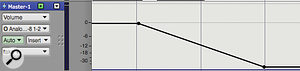You can't place audio on a  master fader track, but it can hold automation data. Here a  fade–out has been programmed, just using the track's Insert menu in the Sequence Editor.