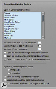 By setting the numerical values low in the Consolidated Window preferences pane, you prevent DP adding space-consuming cells to the user interface, and force it to switch tabs instead. Check also the options here relating to the Mixing Board: 'Scroll the Mixing Board...' is great for the sidebar 'channel strip' approach.