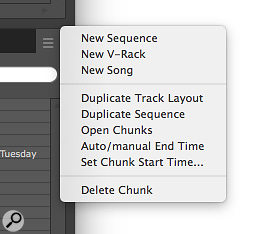 Screen 1: The Chunks window mini‑menu helps you manage Sequences, Songs and V‑racks.