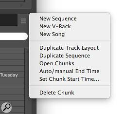Screen1: The Chunks window mini‑menu helps you manage Sequences, Songs and V‑racks.