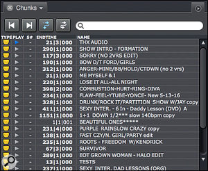 Screen 3: A set list in the Chunks window. This example was provided by Kevin 'Kwiz' Ryan, who runs the DP‑based playback rig for Beyoncé when on tour. Kevin uses the Chunks window to organise the set list for each show and to manage test Sequences, alternate versions of songs and other material needed for the tour.