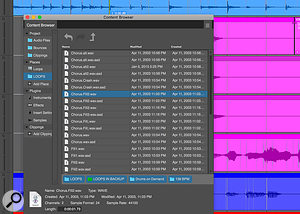 The Content Browser gives you quick access to audio and MIDI files, effects, instruments and more.